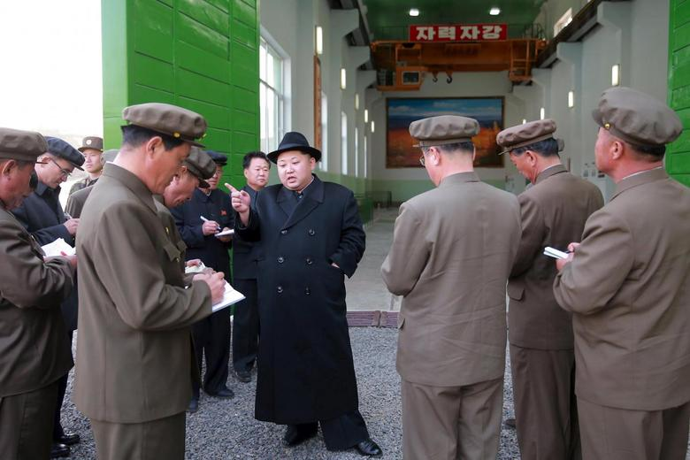 North Korean leader Kim Jong Un visits the Paektusan Hero Youth Power Station No. 3 in this undated photo released by North Korea's Korean Central News Agency (KCNA) in Pyongyang on April 23, 2016. KCNA/via REUTERS