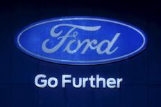 The logo of Ford is pictured at at the 37th Bangkok International Motor Show in Bangkok, Thailand, March 22, 2016. REUTERS/Chaiwat Subprasom
