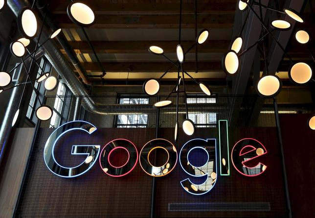 A neon Google sign is seen in the foyer of Google's new Canadian engineering headquarters in Kitchener-Waterloo, Ontario, January 14, 2016.   REUTERS/Peter Power/File Photo