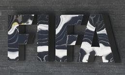 The FIFA logo is seen at the FIFA headquarters in Zurich, Switzerland March 18, 2016. REUTERS/Ruben Sprich