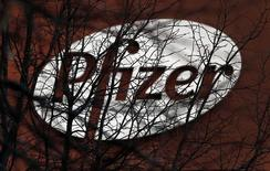 A company logo is seen through branches at a Pfizer office in Dublin, Ireland November 24, 2015.  REUTERS/Cathal McNaughton -