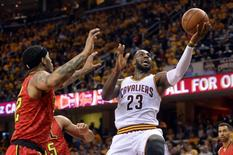 May 4, 2016; Cleveland, OH, USA; Cleveland Cavaliers forward LeBron James (23) shoots a layup during the second quarter in game two of the second round of the NBA Playoffs at Quicken Loans Arena. Mandatory Credit: Ken Blaze-USA TODAY Sports