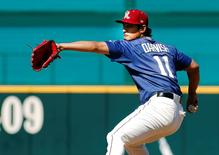 May 1, 2016; Frisco, TX, USA; Frisco RoughRiders starting pitcher Yu Darvish (11) in action against the Corpus Christi Hooks at Dr Pepper Ballpark. Mandatory Credit: Ray Carlin-USA TODAY Sports