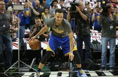 May 9, 2016; Portland, OR, USA; Golden State Warriors guard Stephen Curry (30) smiles while going through his warm-up routine before game four of the second round of the NBA Playoffs against the Portland Trail Blazers at Moda Center at the Rose Quarter. Mandatory Credit: Jaime Valdez-USA TODAY Sports