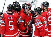 2016 IIHF World Championship - Group B - Canada v Germany - St. Petersburg, Russia - 12/5/16 - Players of Canada celebrate a goal. REUTERS/Maxim Zmeyev