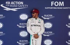 Formula One - Spanish Grand Prix - Barcelona-Catalunya racetrack, Montmelo, Spain - 14/5/16 Mercedes F1 driver Lewis Hamilton of Britain reacts after qualifying REUTERS/Juan Medina