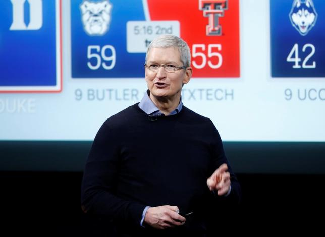 Apple CEO Tim Cook speaks about the Apple TV during an event at Apple headquarters in Cupertino, California int his file photo dated March 21, 2016.  REUTERS/Stephan Lam