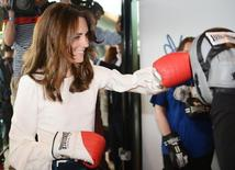Britain's Kate, the Duchess of Cambridge, boxes during a Heads Together mental health campaign launch in Stratford, East London, May 16, 2016.  REUTERS/Jeremy Selwyn/Pool