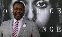 """Cast member Wendell Pierce poses at the premiere for the television movie """"Confirmation"""" in Los Angeles, California March 31, 2016. REUTERS/Mario Anzuoni"""
