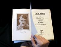 """A copy of Adolf Hitler's book """"Mein Kampf"""" (My Struggle) from 1940 is pictured in Berlin, Germany,  in this picture taken December 16, 2015. REUTERS/Fabrizio Bensch/Files"""