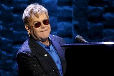 """Singer Elton John performs at the Hillary Victory Fund """"I'm With Her"""" benefit concert for U.S. Democratic presidential candidate Hillary Clinton at Radio City Music Hall in the Manhattan borough of New York City, March 2, 2016. REUTERS/Mike Segar"""