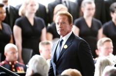 Former California Governor Arnold Schwarzenegger arrives for the funeral of Nancy Reagan at the Ronald Reagan Presidential Library in Simi Valley, California, United States, March 11, 2016. REUTERS/Lucy Nicholson