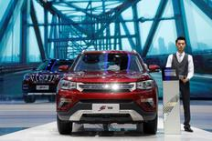 Chongqing Changan Automobile's CS75 SUV models are displayed at its booth during the Auto China 2016 auto show in Beijing, China, April 26, 2016. REUTERS/Kim Kyung-Hoon