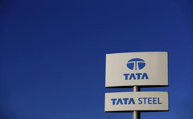 A company logo is seen outside the Tata steelworks near Rotherham in Britain, in this March 30, 2016 file photo.    REUTERS/Phil Noble/Files   - RTSDZ6G