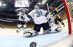 Pittsburgh Penguins right wing Patric Hornqvist (72) celebrates after the game-winning goal by Conor Sheary (not pictured) past San Jose Sharks goalie Martin Jones (31) in the overtime period in game two of the 2016 Stanley Cup Final at Consol Energy Center. Bruce Bennett/Pool Photo via USA TODAY Sports
