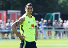 Sweden's Zlatan Ibrahimovic is pictured during a training, as the Swedish team ended their training camp for the upcoming Euro 2016 European football championships, in Bastad, Sweden, June 4, 2016. TT News Agency/Janerik Henriksson/via