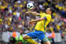 Sweden's Zlatan Ibrahimovic in action during the friendly soccer match Sweden v Wales at the Friends Arena in Stockholm, Sweden June 5, 2016. TT News Agency/Andres Wiklund/via REUTERS