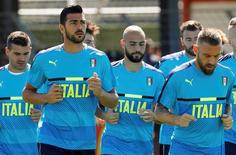 Italy's Graziano Pelle and team mates during training.  REUTERS/Yves Herman