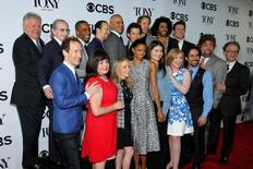 """The cast and crew of """"Hamilton"""" arrive for the 2016 Tony Awards Meet The Nominees Press Reception in Manhattan, New York, U.S., May 4, 2016.  REUTERS/Andrew Kelly"""