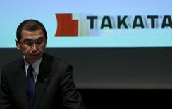 Takata Corp. Chief Executive and President Shigehisa Takada leaves a news conference in Tokyo November 4, 2015.   REUTERS/Issei Kato