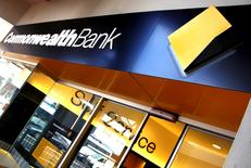 The logo of the Commonwealth Bank of Australia (CBA) is displayed outside a branch in Sydney, Australia, March 21, 2016.  REUTERS/David Gray