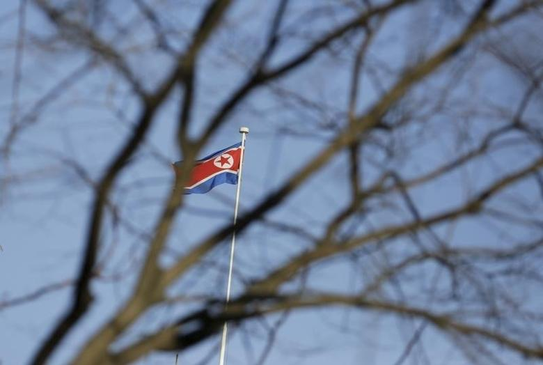 A North Korean flag is seen on the top of its embassy in Beijing, China, February 7, 2016. REUTERS/Jason Lee