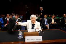 Chair do Fed, Janet Yellen, em Washington.   21/06/2016        REUTERS/Carlos Barria