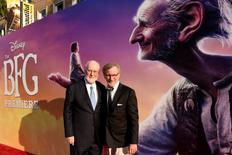 """Composer John Williams (L) and director Steven Spielberg (R) attend the premiere of """"The BFG"""" in Los Angeles, U.S., June 21, 2016. REUTERS/Phil McCarten"""