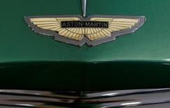 The logo of British manufacturer Aston Martin is seen at a 1952 Aston Martin DB 2 Vantage Specification car during a preview of an auction by Swiss Oldtimer Galerie International in Zurich, Switzerland June 10, 2016.    REUTERS/Arnd Wiegmann -