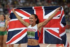 Aug 23, 2015; Beijing, China; Jessica Ennis-Hill (GBR) poses with British flag after winning the heptathlon with 6,669 points during the IAAF World Championships in Athletics at National Stadium. Mandatory Credit: Kirby Lee-USA TODAY Sports