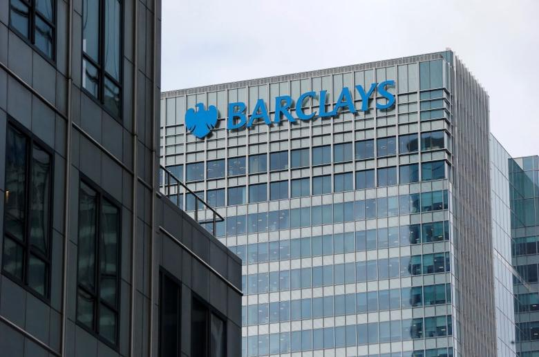 A Barclays bank office is seen at Canary Wharf  in London, Britain May 19, 2015. REUTERS/Suzanne Plunkett/File Photo