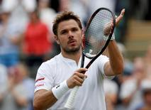 Britain Tennis - Wimbledon - All England Lawn Tennis & Croquet Club, Wimbledon, England - 28/6/16 Switzerland's Stan Wawrinka celebrates winning his match against USA's Taylor Fritz REUTERS/Paul Childs