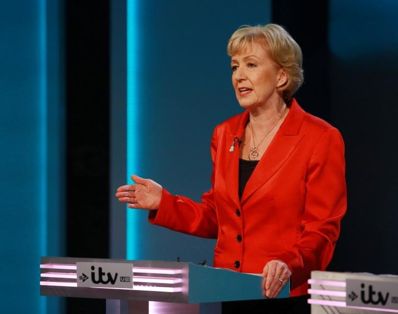 Energy Minister Andrea Leadsom speaks during the ''The ITV Referendum Debate'' at the London Television Centre in Britain, June 9, 2016. Mandatory Credit: Photo by Matt Frost/ITV/REX/Shutterstock via Reuters