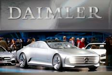 A Mercedes-Benz Concept IAA car is displayed prior to the Daimler annual shareholder meeting in Berlin, Germany, April 6, 2016.  REUTERS/Hannibal Hanschke