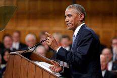 U.S. President Barack Obama addresses Parliament in the House of Commons on Parliament Hill in Ottawa, Ontario, Canada, June 29, 2016. REUTERS/Chris Wattie