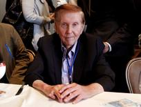Sumner Redstone, executive chairman of Viacom Inc and CBS Corp, poses for a photo after answering questions at the Milken Institute Global Conference in Beverly Hills, California, U.S. May 2, 2012. REUTERS/Danny Moloshok/File Photo