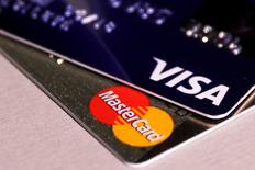 MasterCard and VISA credit cards are seen in this picture illustration taken June 9, 2016. REUTERS/Maxim Zmeyev/Illustration