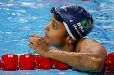 Etiene Medeiros após prova dos 50m costas no Mundial de Kazan.  5/8/2015.       REUTERS/Michael Dalder