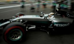 Formula One - Grand Prix of Europe - Baku, Azerbaijan - 17/6/16 - Mercedes Formula One driver Lewis Hamilton of Britain drives out of the garage during the first practice session. REUTERS/Maxim Shemetov