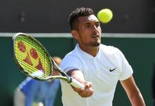 Britain Tennis - Wimbledon - All England Lawn Tennis & Croquet Club, Wimbledon, England - 1/7/16 Australia's Nick Kyrgios in action against Germany's Dustin Brown REUTERS/Toby Melville