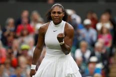 Britain Tennis - Wimbledon - All England Lawn Tennis & Croquet Club, Wimbledon, England - 1/7/16 USA's Serena Williams celebrates winning her match against USA's Christina McHale REUTERS/Paul Childs