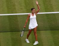 Britain Tennis - Wimbledon - All England Lawn Tennis & Croquet Club, Wimbledon, England - 2/7/16 USA's Madison Keys celebrates winning her match against France's Alize Cornet REUTERS/Paul Childs