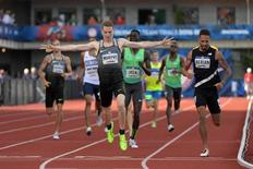 Jul 4, 2016; Eugene, OR, USA; Clayton Murphy celebrates after defeating Boris Berian and Charles Jock to win the 800m in 1:44.76 during the 2016 U.S. Olympic Team Trials at Hayward Field. Mandatory Credit: Kirby Lee-USA TODAY Sports