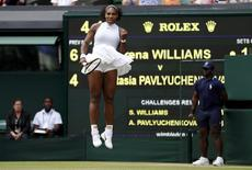 Britain Tennis - Wimbledon - All England Lawn Tennis & Croquet Club, Wimbledon, England - 5/7/16 USA's Serena Williams celebrates during her match against Russia's Anastasia Pavlyuchenkova REUTERS/Stefan Wermuth