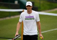 Britain Tennis - Wimbledon - All England Lawn Tennis & Croquet Club, Wimbledon, England - 3/7/16 Great Britain's Andy Murray during a practice session REUTERS/Paul Childs