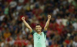 Football Soccer - Portugal v Wales - EURO 2016 - Semi Final - Stade de Lyon, Lyon, France - 6/7/16 Portugal's Cristiano Ronaldo celebrates at the end of the game REUTERS/John Sibley Livepic