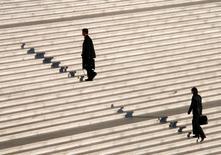 Le nombre de défaillances d'entreprises cumulé sur un an a diminué de 5,1% à fin avril en France pour revenir à 60.566. /Photo d'archives/REUTERS/John Schults