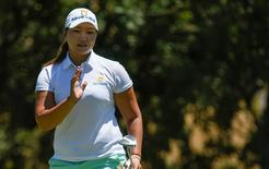 Jul 7, 2016; San Martin, CA, USA; Mirim Lee reacts after putting the ninth green during the first round of the women's 2016 U.S. Open golf tournament at CordeValle Golf Club. Mandatory Credit: Kelvin Kuo-USA TODAY Sports
