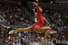 July 10, 2016; San Jose, CA, USA; Simone Biles, from Spring, TX, during the floor exercise in the women's gymnastics U.S. Olympic team trials at SAP Center. Mandatory Credit: Kyle Terada-USA TODAY Sports