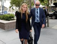 Manuela Herzer, the former girlfriend of 92 year-old Sumner Redstone, controlling shareholder of Viacom and CBS, heads back into court where she is suing to be reinstated as the person in charge of Redstone's health care in Los Angeles, California May 6, 2016.    REUTERS/Kevork Djansezian